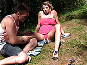 Tanned Russian chick having sex with hot stranger in the woods