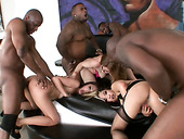 Four wild white chicks get brutally fucked by strong black studs