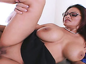 Red haired gorgeous MILF in glasses Ava Lauren gets fucked by kinky neighbor