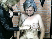 Grey haired nympho Blanca gets saggy tits and pussy lips pinned with pegs