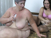 Extremely fat and dirty old whore Eva fucks cutie's fresh pussy with toy