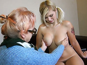 Old ugly bitch in glasses Bernadett tickles fresh pussy of pigtailed busty gal