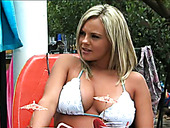Stunning blonde wearing white bikini Bree Olson gets fucked by two studs