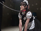 Obidient maid on a leash Kanako Iioka gives submissive blowjob