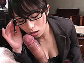 Slutty Japanese business lady Nana Kunimi gives blowjob and titfuck