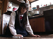 Lewd Japanese black haired coed girl Ai Uehara gets pussy licked by dude