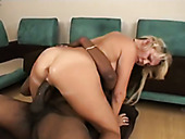 Two black hungry guys fuck one slutty blond MILF hard
