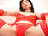 Gorgeous Japanese MILF in red lingerie getting hairy pussy licked