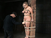 Busty blonde whore Aall Wood is toy fucked in BDSM porn clip