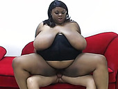 Black BBW in heeled shoes rides hard cock of her shy buddy greedily