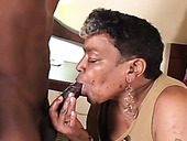 Disgusting black granny takes on sweet cock of her slim boy