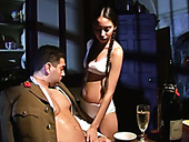 Busty dark haired sweetie pleases her horny military man with solid BJ in the office