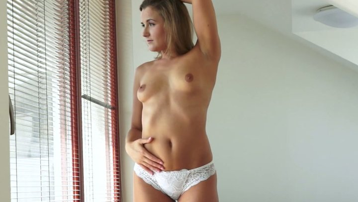 Shy looking leggy chick masturbates in bedroom greedily