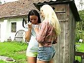 Skanky country girls having dirty lesbian sex in the nature