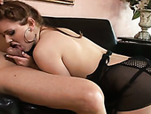 Bootyfull tranny in hot lingerie gives her fuck buddy a fantastic blowjob