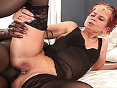 Trashy grandma boned brutally in hardcore interracial fuck scene