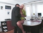Jaw-droppingly gorgeous secretary is having spontaneous sex with her boss