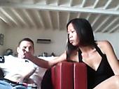 Sexy Asian girlfriend sucking white big cock balls deep