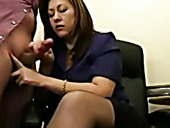 Thirsty for cock MILF sucking big cock greedily in the office