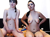 Beautiful babes with appetizing titties fuck dirty threesome