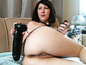 This horny brunette destroys her anus with her huge sex toy