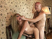 Bald headed stud fucks anal hole of kinky shemale with tan lines