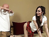 Horny shemale pretends to be a shy coed in order to seduce her neighbor