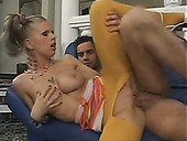 Lewd auburn slut in torn yellow pantyhose is fucked from behind hard