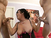 Bitchie curvy brunette slut with huge booty rides and blows two big cocks