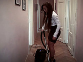 Stunning curvy brunette maid wins a chance to suck and ride big cock