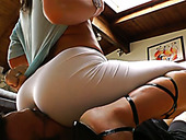 Leggy whore in white yoga pants Dee Siren loves to dominate