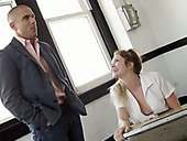 Nasty college girl is left on detention with a horny teacher