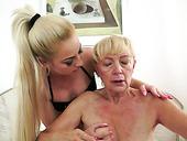 Lesbian granny Szuzanne eats out hot blonde Anastasia Blonde