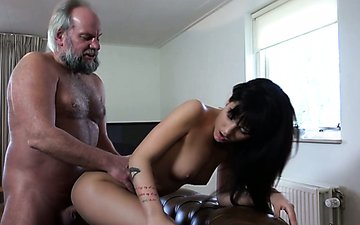 Young chick catches 70 years old man jerking off so she fucks him