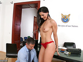 Elegant brunette babe Alexa Tomas seduces her boss and gives him blowjob before dirty sex