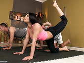 Super sexy yoga instructor Kitana Lure takes part in hot threesome