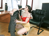 Perverted wife Natty Mellow is fucked by young manager right in the office of her husband