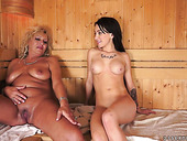 Sandra Luberc enjoys having dirty sex with old slut in the sauna