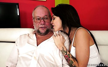 Sex-hungry slut Sandra Luberc seduces old dude and rides his meaty dick