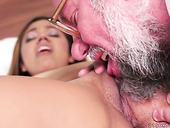 Young student chick Karla enjoys having crazy sex with old fart