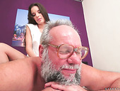 Lustful young brunette Anita Bellini goes wild on hard old dick