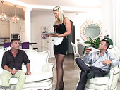 Horny dudes fuck sexy chick Christen Courtney in maid uniform