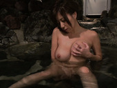 Fucking hot juggy Asian milf Chihiro Akino strokes her body in the water