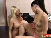 Blond chick Mia Magma is having crazy passionate sex with new GF
