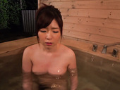 Nice Japanese slut Kaho provides her client with tugjob in the pool