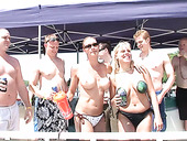 Group of naughty chicks in bikini goes wild at the party