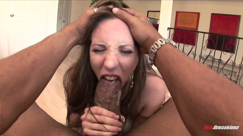Lusty busty ebony deepthroating white cock