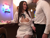 Cute Asian barmaid Misuzu Tachibana gives blowjob to her colleague