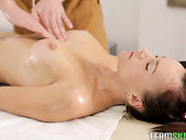 Young masseur gives massage and fucks sweet looking client Kimberly