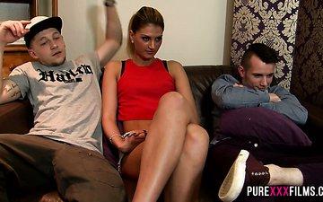 Slender porn model Sam Bourne rides dick after pussy licking scene